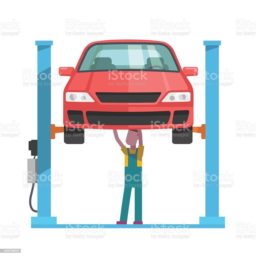 Mechanic repairing a car lifted on auto hoist vector art illustration