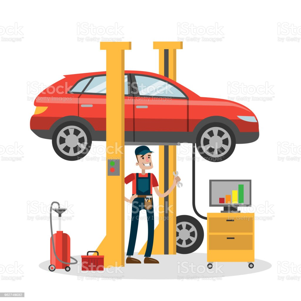 Mechanic repairing car in the service. vector art illustration