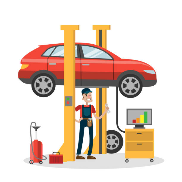 mechanic repairing car in the service. - mechanic stock illustrations, clip art, cartoons, & icons