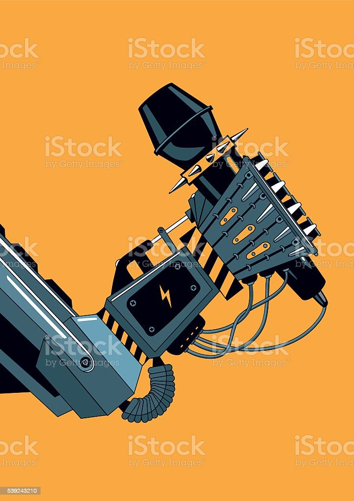 Mechanic robot hand with a microphone. Rock music poster royalty-free mechanic robot hand with a microphone rock music poster stock vector art & more images of adulation
