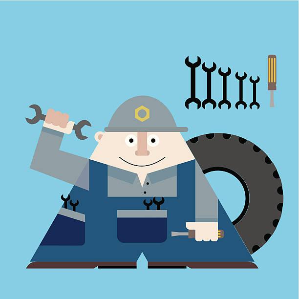 ilustraciones, imágenes clip art, dibujos animados e iconos de stock de mecánico - tintanegra00