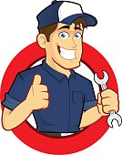 Clipart picture of a mechanic cartoon character with circle shape