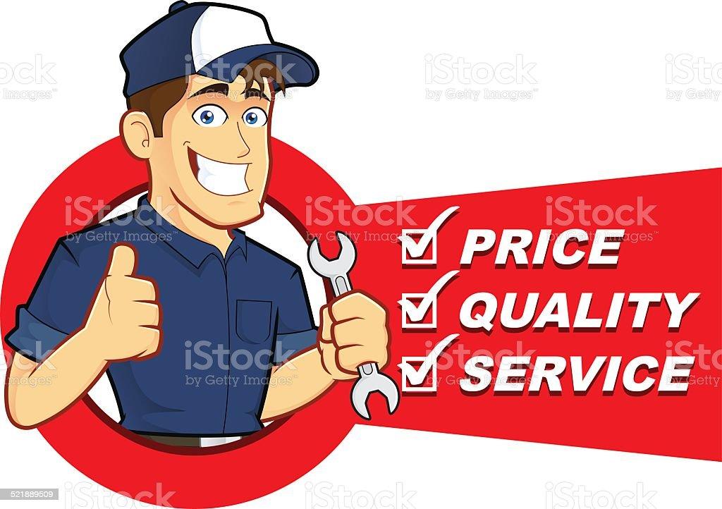 Mechanic with Service List vector art illustration