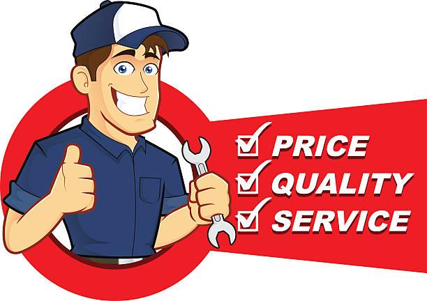 mechaniker mit service-liste - handwerker stock-grafiken, -clipart, -cartoons und -symbole