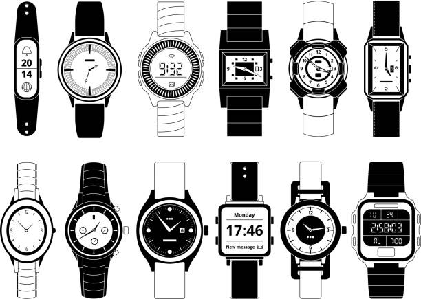 bildbanksillustrationer, clip art samt tecknat material och ikoner med mekanisk och elektronisk sport hand klockor i svartvit stil. vektor bilder uppsättning isolera på vit - armbandsur