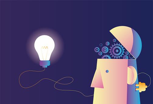 Mechanical brain with light bulb