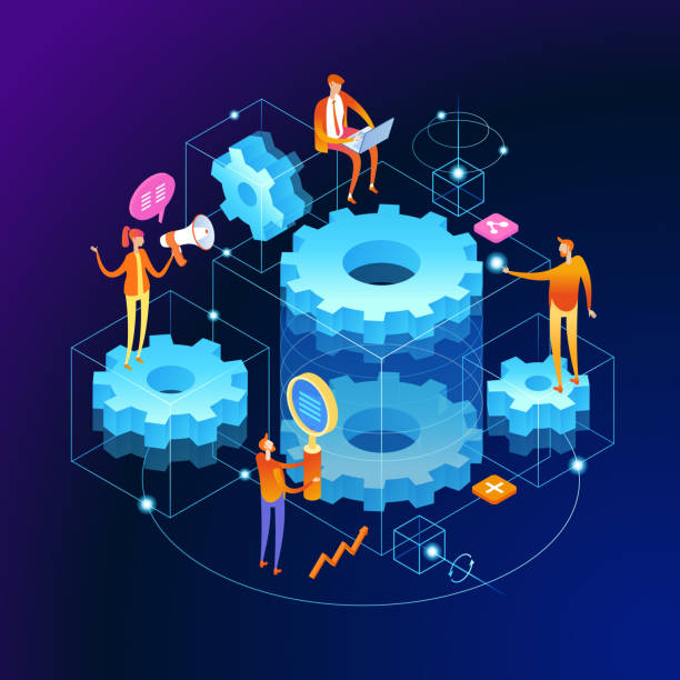 Mechanical concept banner Mechanical concept. People links of mechanism. Industry development. Engine work. Men are engaged in business promotion. 3d vector isometric illustration. changing form stock illustrations