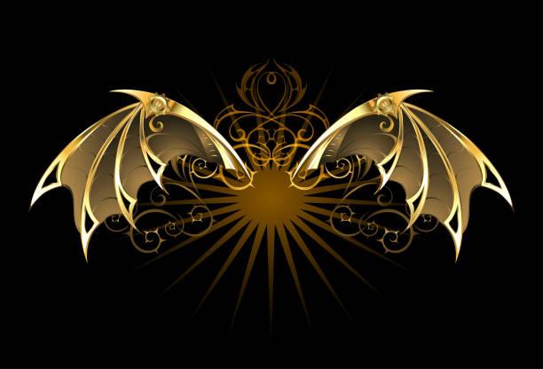 bildbanksillustrationer, clip art samt tecknat material och ikoner med mekaniska drake vingar - wheel black background