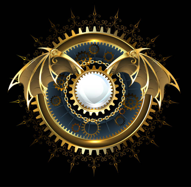 bildbanksillustrationer, clip art samt tecknat material och ikoner med mekaniska drake vingar med en lins - wheel black background