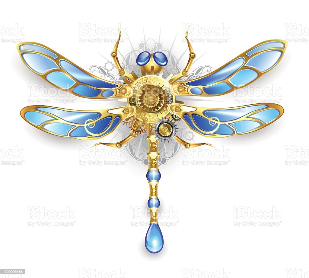 Mechanical dragonfly on a white background vector art illustration