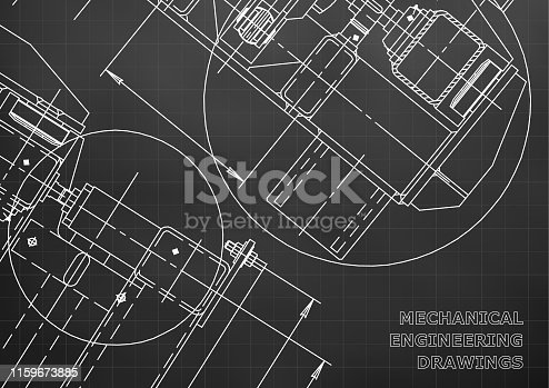 Mechanical Engineering drawing. Blueprints. Mechanics. Cover