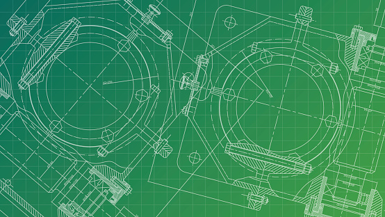 Mechanical Engineering drawing. Engineering Drawing Background. Vector.