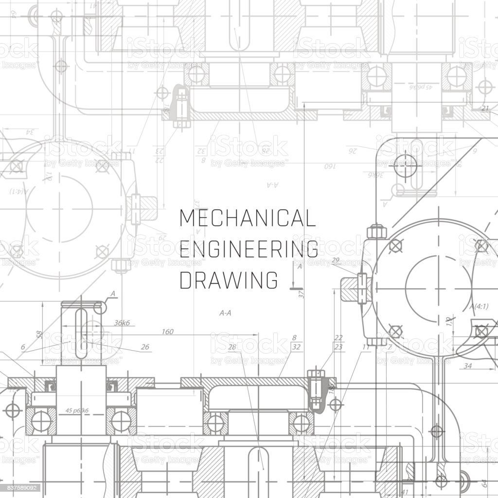 Mechanical Engineering drawing. Engineering Drawing Background. Blueprint vector. vector art illustration