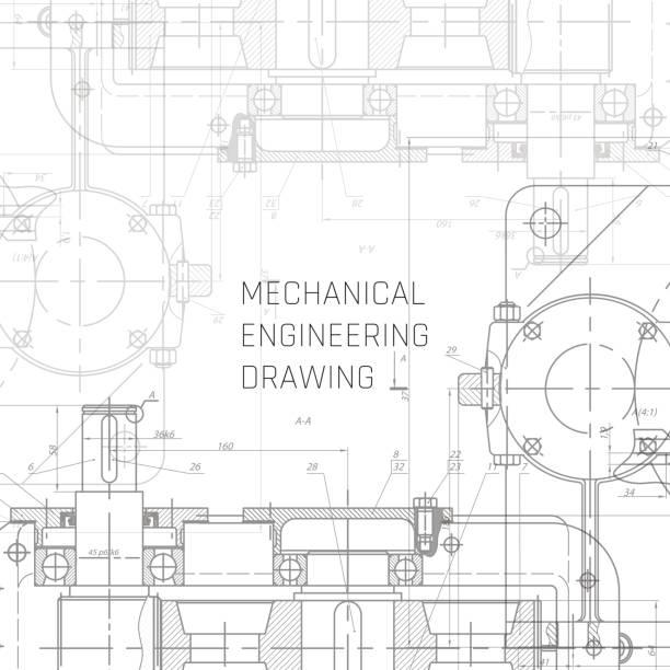 ilustraciones, imágenes clip art, dibujos animados e iconos de stock de dibujo de ingeniería mecánica. fondo de dibujo de ingeniería. vector del plano. - ingeniero