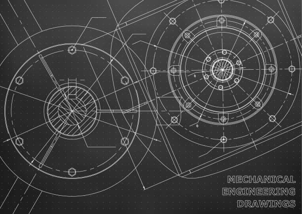 maschinenbauzeichnungen. ingenieur-illustration - splash grafiken stock-grafiken, -clipart, -cartoons und -symbole