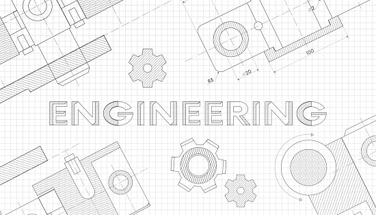 Mechanical engineering drawings. Technical drawing.Abstract Technology Background.ENGINEERING - science, technology, engineering, mathematics education concept typography design.geometric parts.