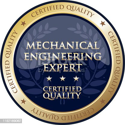 Mechanical engineering expert certified quality gold round label with a laurel wreath.
