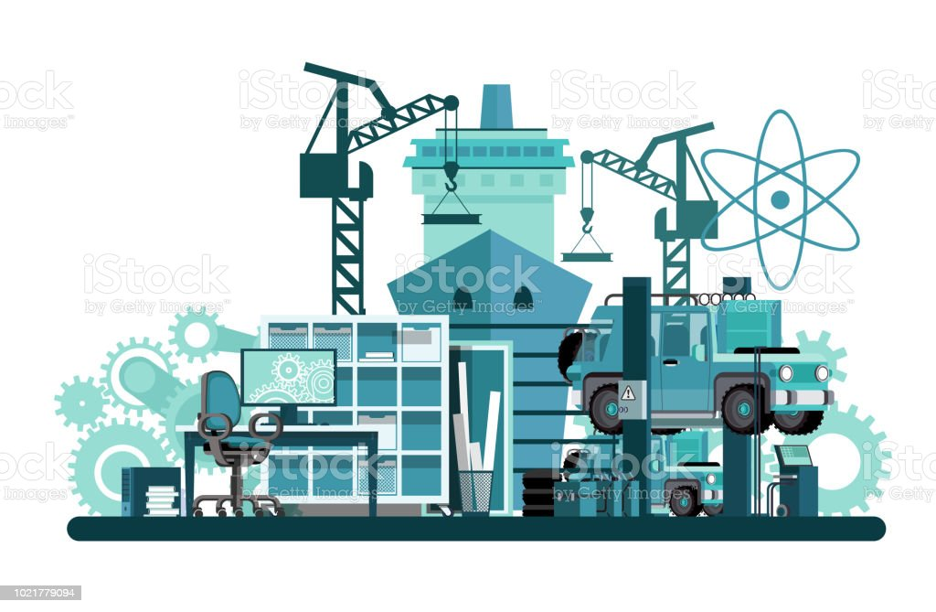 Mechanical engineering vector art illustration