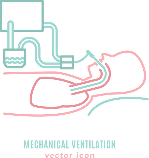 Mechanical lung ventilation icon Mechanical lung ventilation icon. Pulmonary procedure pictogram. Acute respiratory distress syndrome. Tachypnea. Medicine, emergency care sign. Vector illustration isolated on a white background. smoke inhalation stock illustrations