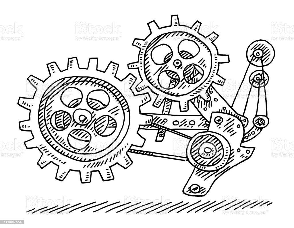 Vetores De Maquina Mecanica Desenho De Engrenagens E Mais Imagens