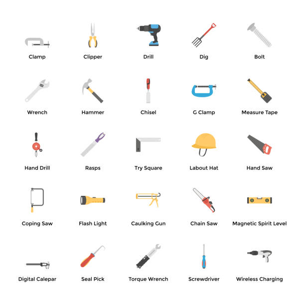 Mechanical Machines And Tools Icons 100 plumbing  tools icons pack, a technical and industrial set of flat vectors is hereby to represent various tools associated to plumbing, construction, and other household operations.it is worth holding this pack and utilize in related projects. gardening equipment stock illustrations