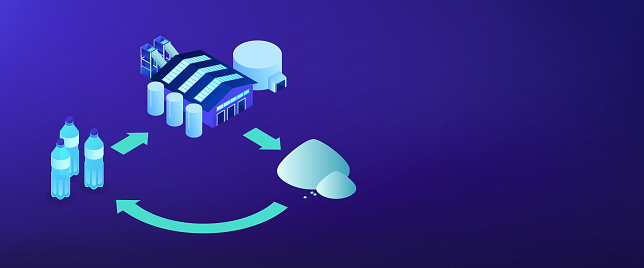 Mechanical recycling isometric 3D banner header.