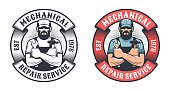 Mechanical repair service retro badge. Worker with hammer and spanner vintage emblem. Vector illustration.