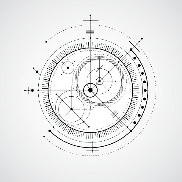 mechanical scheme, black and white vector engineering drawing - conspiracy stock illustrations