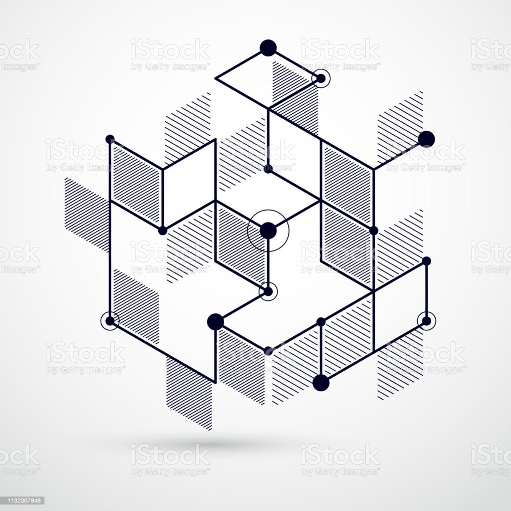 Mechanical scheme black and white vector engineering drawing