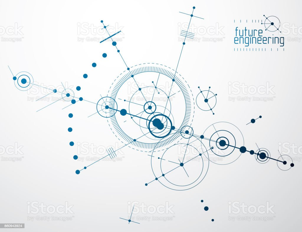 Mechanical scheme, vector engineering drawing with circles and geometric parts of mechanism. Technical plan can be used in web design and as wallpaper or background. vector art illustration