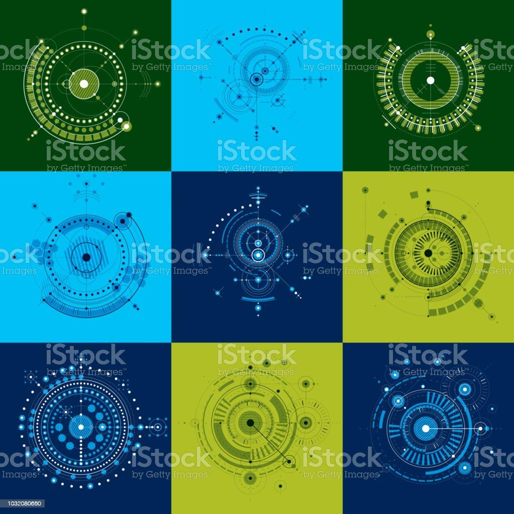 機械のスキームサークルと機構の幾何学的な部分とベクトル図面のセット