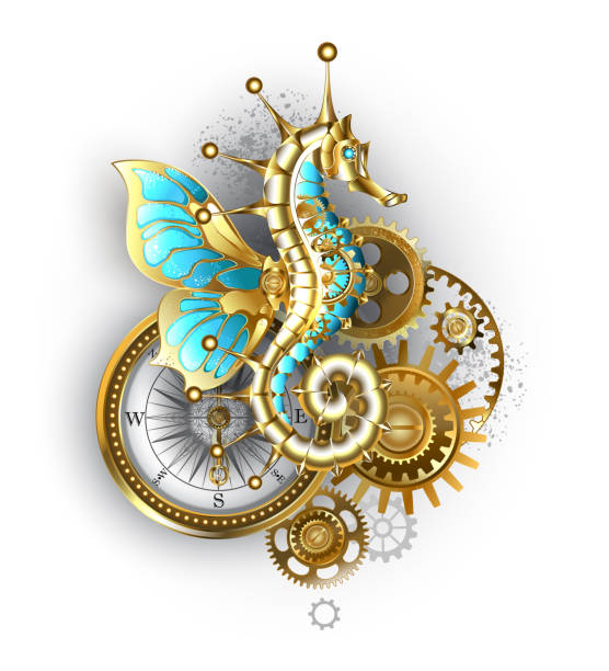 Mechanical seahorse Composition from mechanical seahorse (Hippocampus), gears and an antique compass on white background. hippocampus brain stock illustrations