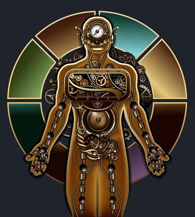 Mechanical steampunk man