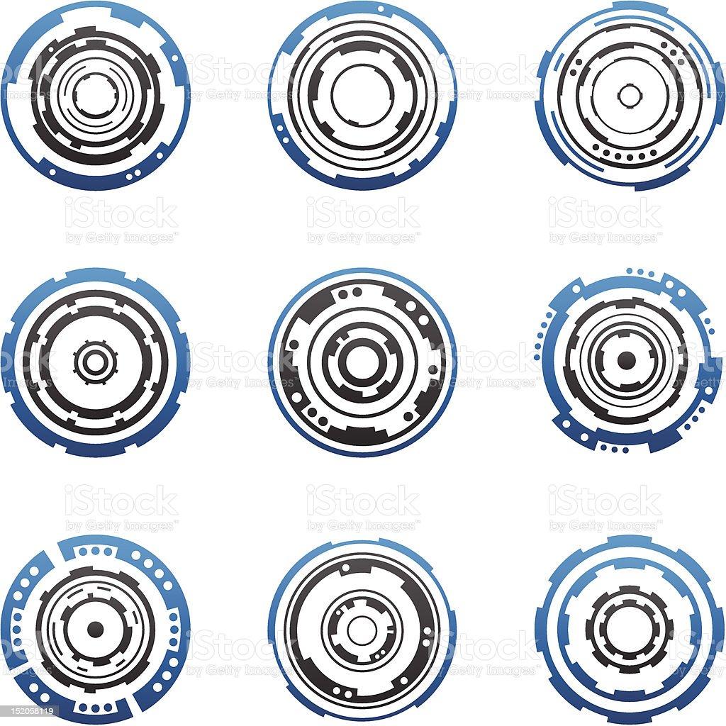 Mechanical tech gear shapes vector art illustration
