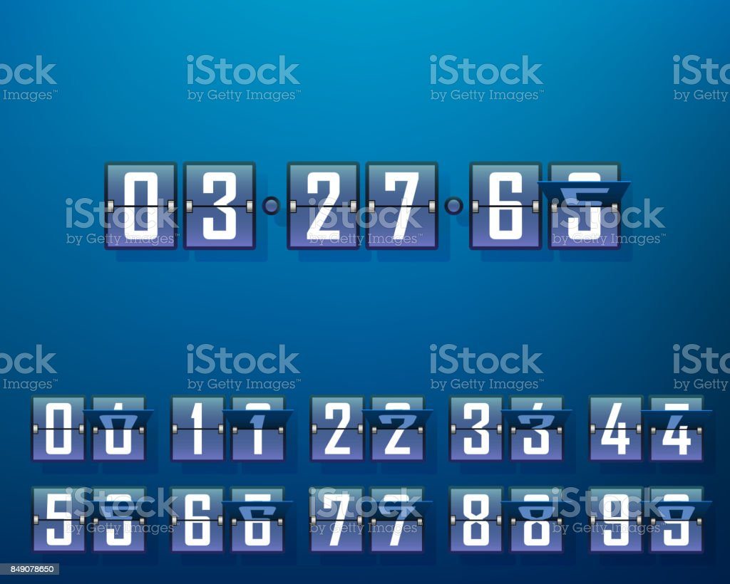 Mechanical time timer, set of digits. vector art illustration
