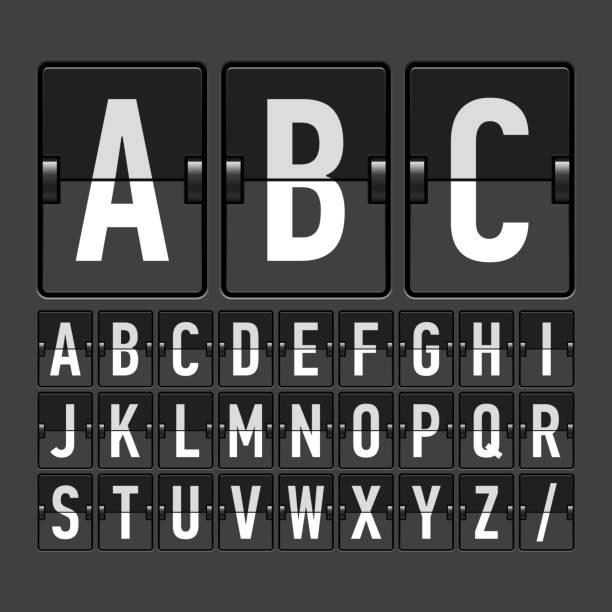 механические расписание, информация доска, отображение алфавит - иллюстрации на тему туристические направления stock illustrations