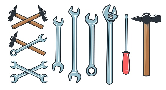Mechanical tools hardware - spanner wrench screwdriver.