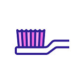 mechanical toothbrush head close view icon vector. mechanical toothbrush head close view sign. color symbol illustration