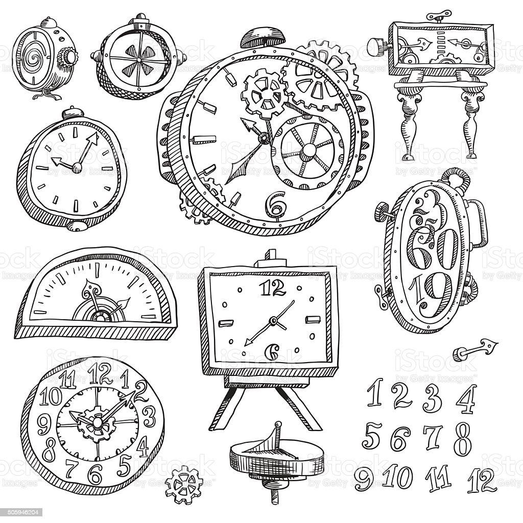 mechanical watch vector art illustration