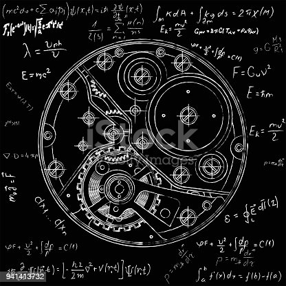 Mechanical watches plan with formulas. Drawing of the internal device. It can be used as an example of harmonious interaction of complex systems, technical, engineering and scientific research, high-tech.