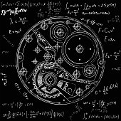 Mechanical watches plan with gears. Drawing of the internal device. It can be used as an example of harmonious interaction of complex systems, technical, engineering and scientific research, high-tech