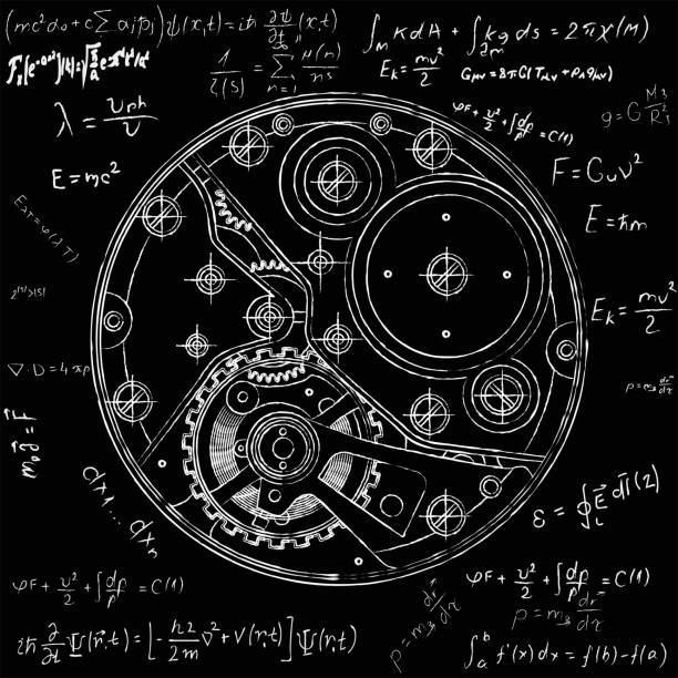 ilustrações de stock, clip art, desenhos animados e ícones de mechanical watches plan with gears. drawing of the internal device. it can be used as an example of harmonious interaction of complex systems, technical, engineering and scientific research, high-tech - macro