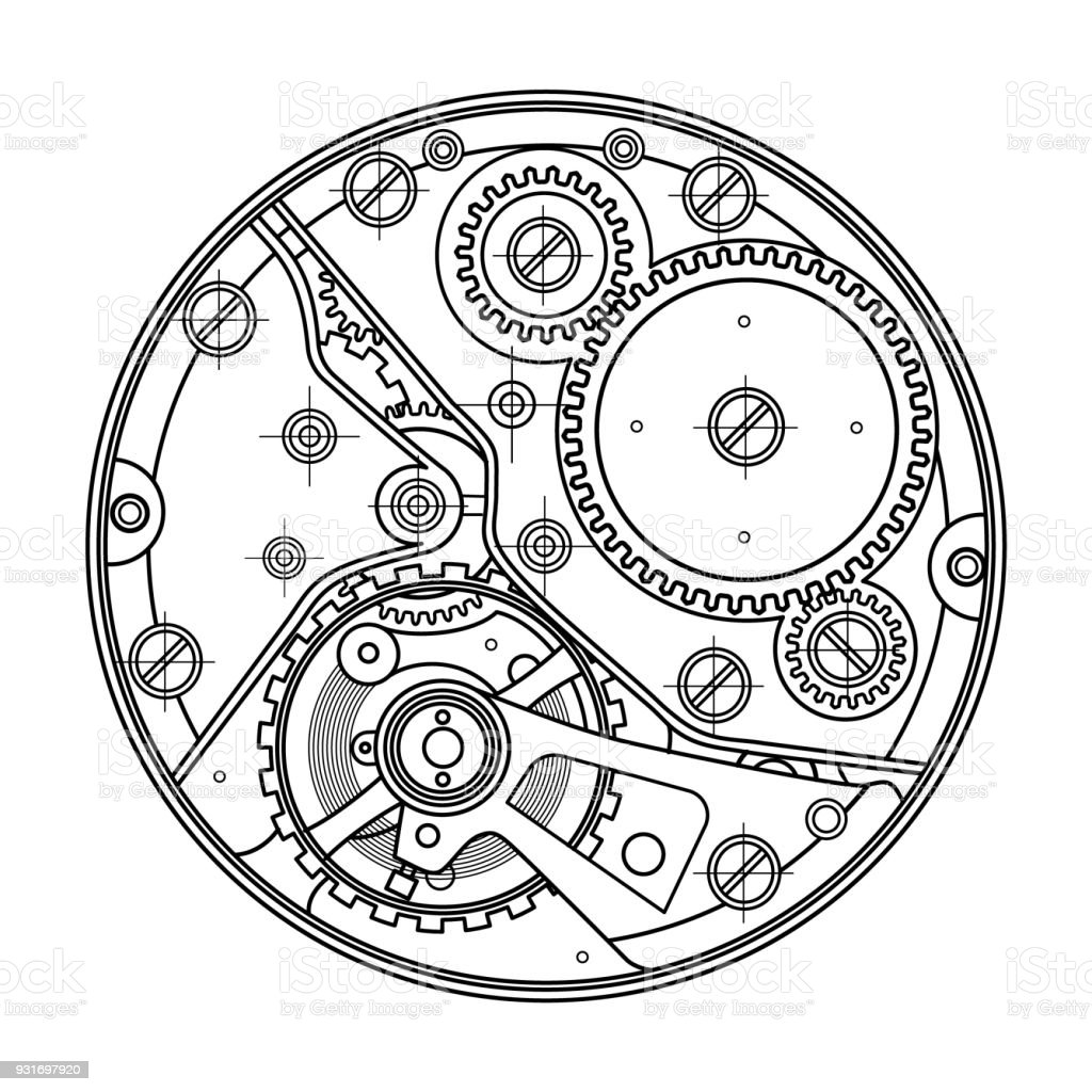 Mechanical watches with gears. Drawing of the internal device. It can be used as an example of harmonious interaction of complex systems, technical, engineering and scientific research, high-tech royalty-free mechanical watches with gears drawing of the internal device it can be used as an example of harmonious interaction of complex systems technical engineering and scientific research hightech stock illustration - download image now