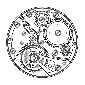 Mechanical watches with gears. Drawing of the internal device. It can be used as an example of harmonious interaction of complex systems, technical, engineering and scientific research, high-tech