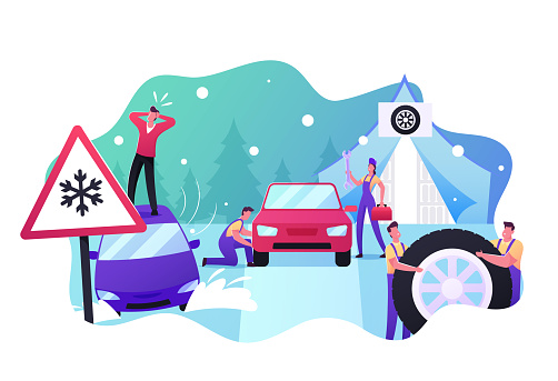 Mechanics Change Summer Tyres on Winter ones. Desperate Male Character Stand on Roof of his Car Stuck in Deep Snowdrift