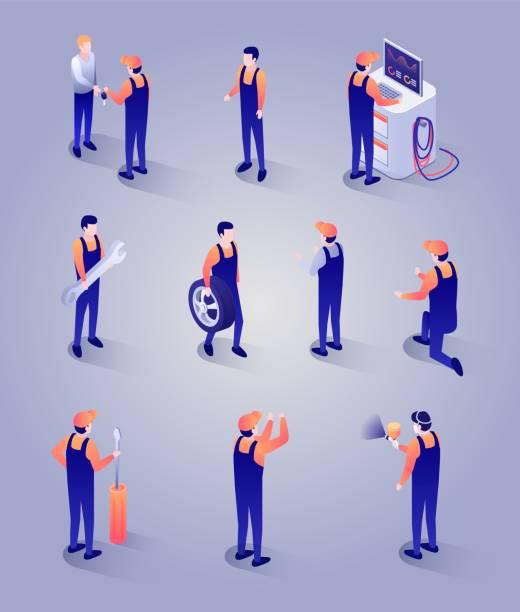 illustrazioni stock, clip art, cartoni animati e icone di tendenza di mechanics with tools and equipment isometric set - mechanic