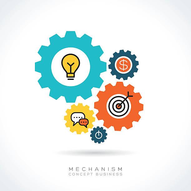 illustrations, cliparts, dessins animés et icônes de mécanisme d'icônes illustration concept d'affaires - entrepreneur