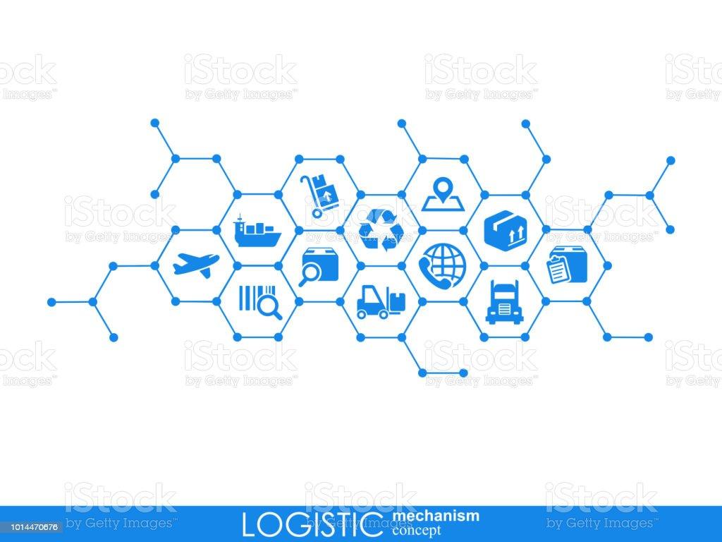 Concepto de mecanismo logístico. distribución, entrega, servicio, transporte, logística, transporte, mercado conceptos. Fondo abstracto con objetos conectados. Ilustración de vector. - ilustración de arte vectorial