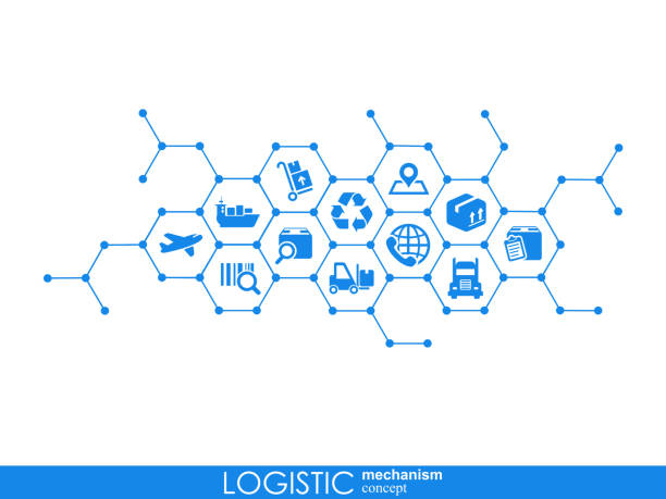 illustrazioni stock, clip art, cartoni animati e icone di tendenza di logistic mechanism concept. distribution, delivery, service, shipping, logistic, transport, market concepts. abstract background with connected objects. vector illustration. - logistica