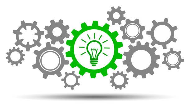 ilustraciones, imágenes clip art, dibujos animados e iconos de stock de idea de negocio de generación de mecanismo - stock vector - rueda dentada